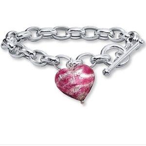 Kay Jewelers Sterling Silver Glass Heart Bracelet